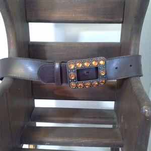 """Women's belt 30 Brown 1.5"""" Brass tone buckle Bling"""